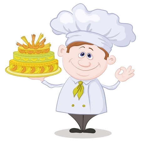 pastry chef: Cartoon cook - chef with sweet holiday cake, isolated on white background  Vector Illustration