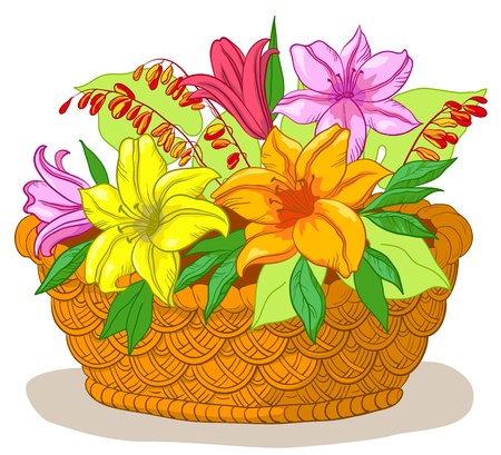 gift basket: wattled basket with flowers lily and green leaves