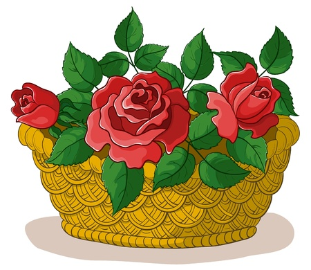 gift basket: wattled basket with flowers red roses and green leaves