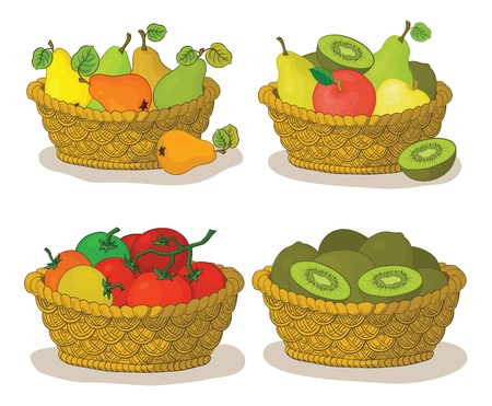 Set wattled baskets with fruits and vegetables  pears, apples, tomatoes and kiwifruits  Vector, Stock Vector - 16491998