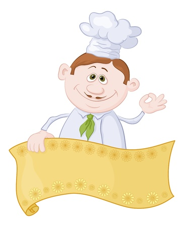 okay sign: Cartoon cook - chef with blank banner for your text showing ok hand sign  Vector