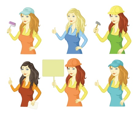 Set cartoon women professionals, workers and clerks  Vector Illustration