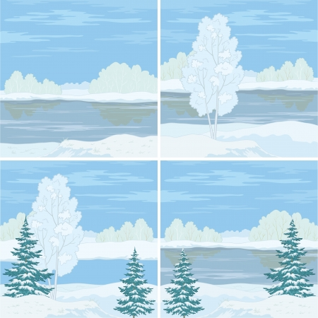 Set winter landscapes  trees, river and blue sky  Vector Vector