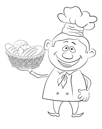 bread basket: Cartoon cook - chef with a basket of bread, black contour on white background  Vector illustration Illustration