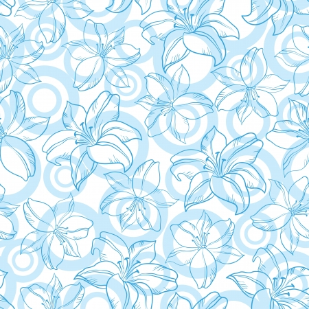 Seamless floral background, blue silhouette lily flowers and circles on white Vector