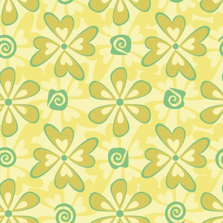 Seamless floral background, symbolical green and yellow silhouette flowers Vector