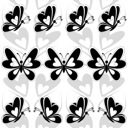Seamless background, butterflies black silhouettes on white background  Vector Vector