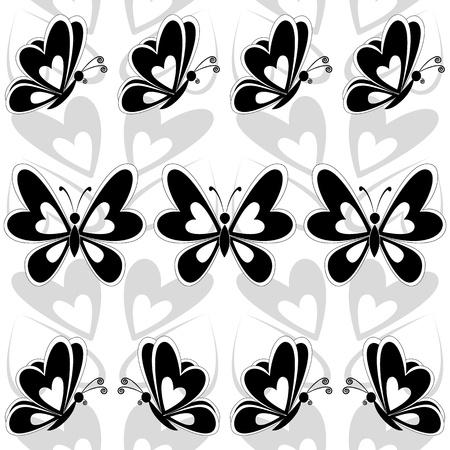 tattoo butterfly: Sfondo senza soluzione di continuità, farfalle sagome nere su sfondo bianco vettoriale