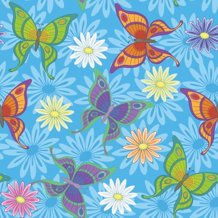 Seamless background, colorful flowers and butterflies on blue   Vector