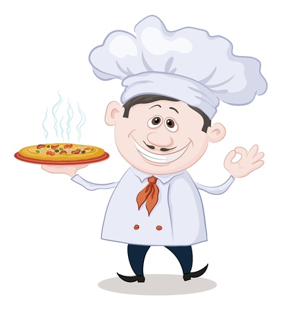 Cartoon cook - chef holds a delicious hot pizza, isolated on white background