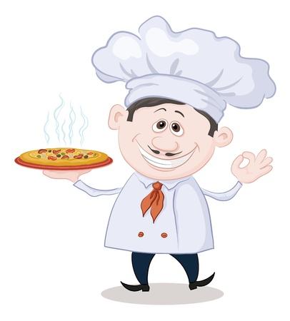Cartoon Koch - Koch hält eine köstliche heiße Pizza, isoliert auf weißem Hintergrund