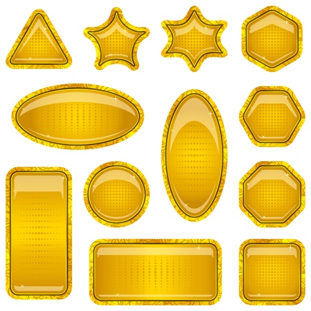 hexagram: Set gold icons, computer buttons different forms on white background