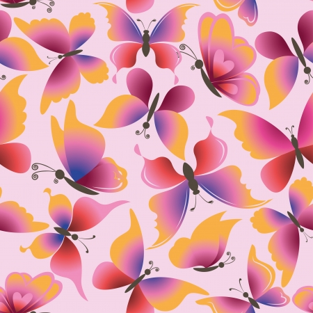 Seamless background, pattern of symbolical colorful butterflies Stock Vector - 16640800
