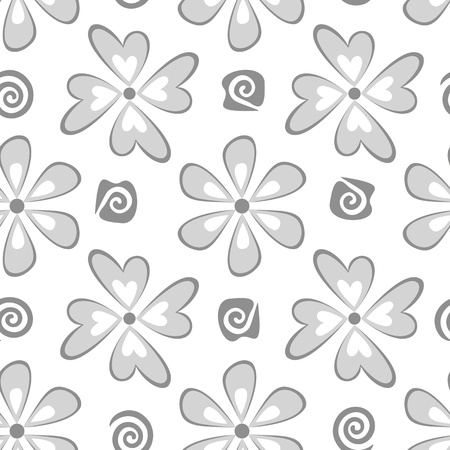 Seamless floral background, symbolical flowers, black silhouette on white