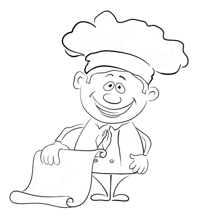 Cartoon cook - chef with a piece of paper, blank for your text, black contour on white background   Vector