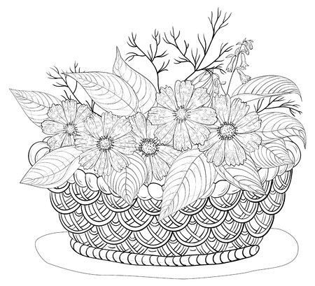 Wattled basket with flowers cosmos and leaves, black contours  Vector