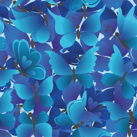 Seamless background, pattern of symbolical blue butterflies  Vector Stock Vector - 16701237