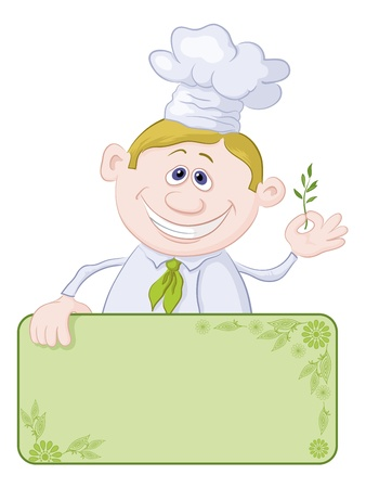 a sprig: Cocinero de dibujos animados - cocinero con la bandera en blanco para el texto que sostiene una ramita de especias