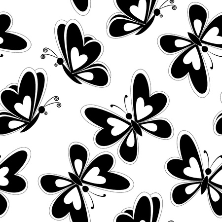 butterfly tattoo design: Seamless background, butterflies black silhouettes on white background