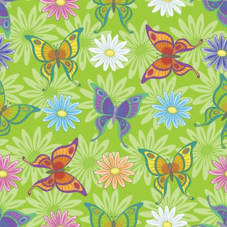Seamless background, colorful flowers and butterflies on green  Vector Illusztráció