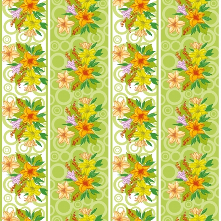 Seamless floral background, lily flowers, stripes and circles  Vector Vector