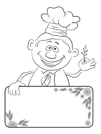 Cartoon cook - chef with blank banner for your text holding a sprig of spices, black contour on white background  Vector Stock Vector - 16898980