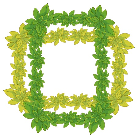 White background with a frame of fresh leaves of plants  Vector Vector