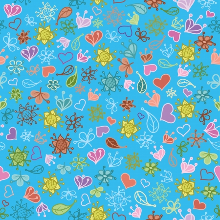 Seamless floral background, colorful symbolical contours and silhouettes flowers, leaves and hearts on blue Stock Vector - 16921752