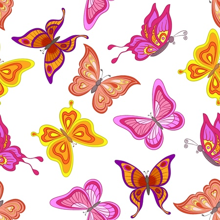 butterflies flying: Seamless background, various symbolical butterflies, coloured contours on a white background  Vector