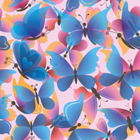Seamless background, pattern of symbolical colorful butterflies  Vector eps10, contains transparencies Stock Vector - 17275192