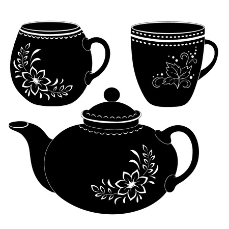 black dish: China teapot and cups with a floral pattern, black contour on white background