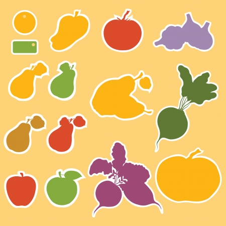 Set of templates for labels, tags, vegetables and fruits, colorful silhouette   photo