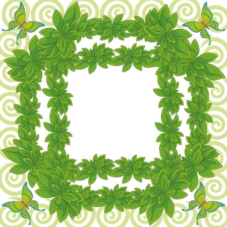 White background with a frame of fresh leaves of plants, butterflies and spiral  Illustration