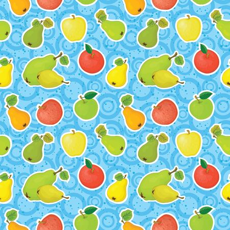 Seamless pattern, apples and pears on a blue background with circles  Stock Vector - 17415692
