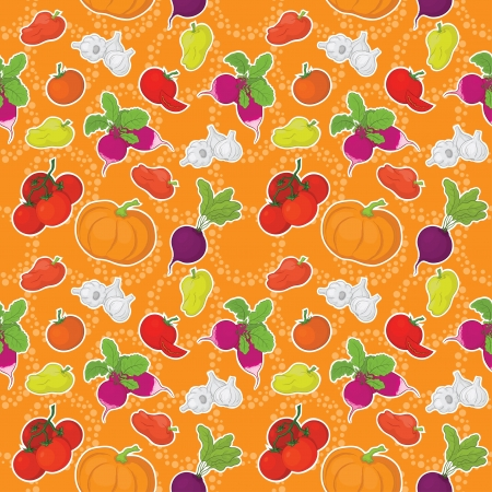 Seamless pattern, raw vegetables on orange background  Vector Vector
