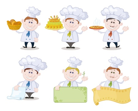 Set of cartoon cooks, chefs  hold basket of bread, cake, pizza, menus, posters   Vector