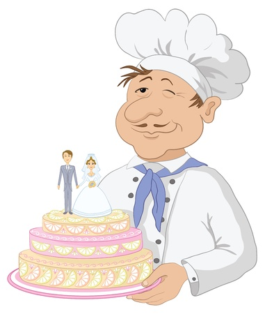 Cartoon cook - chef with holiday wedding cake, pie with bride and groom figurines   Vector