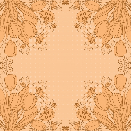 Flower background, tulips flowers and abstract pattern   Vector
