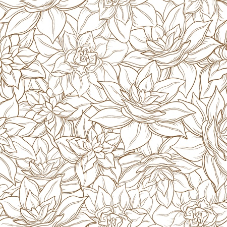Seamless floral background, narcissus flowers contour on white  Vector