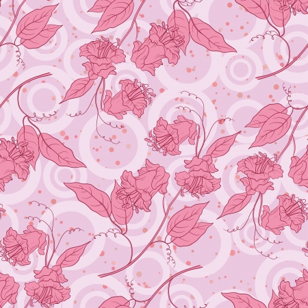 kobe: Seamless floral background, pink kobe flowers and leaves and abstract pattern