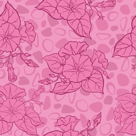 ipomoea: Seamless floral background, ipomoea flowers and abstract pattern  Vector Illustration