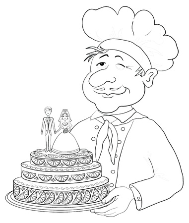 torte: Cartoon cook - chef with holiday wedding cake, pie with bride and groom figurines, contour  Vector