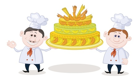 Cartoon character cooks - chefs with sweet holiday cake, isolated on white background  Vector Vector