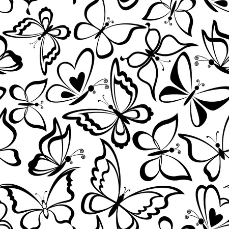 white butterfly: Seamless background, butterflies black silhouettes on white background Illustration