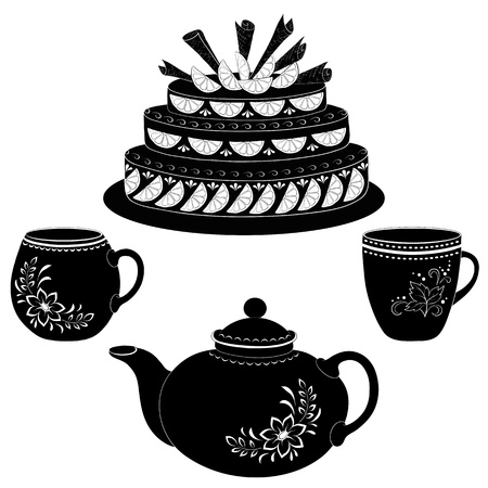 torte: Holiday cake, teapot and cups, black contours on white background