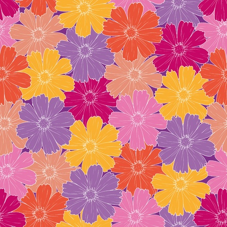 Seamless floral background, pattern of colorful cosmos flowers  Stock Vector - 17962540