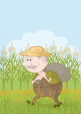 Farmer cartoon man carries a sack in the corn field  Vector