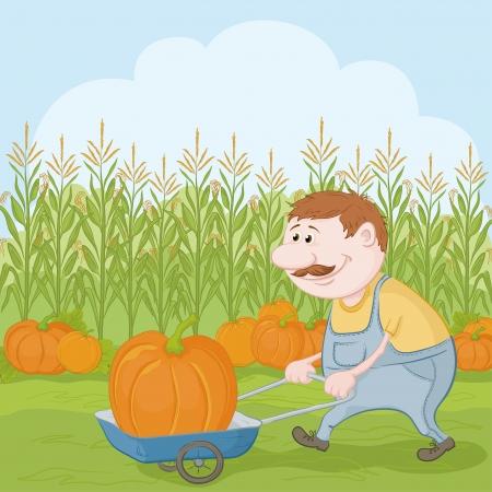 Farmer cartoon man oogst, gedreven truck met pompoen Stock Illustratie
