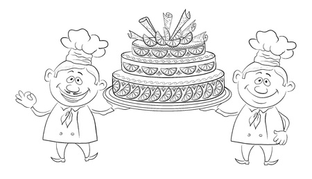 torte: Cartoon character cooks - chefs with sweet holiday cake, black contour on white background  Vector