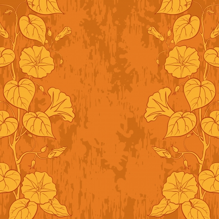 ipomoea: Floral background with Ipomoea flowers and leaves and abstract pattern   Illustration
